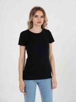 Купить женски однотонные футболки чёрные (плотность 150-155 гр/м2)