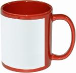 Кружка красная прямоугольная белая зона под нанесение