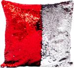 Наволочка волшебная красная/серебро 40x40 см сатин