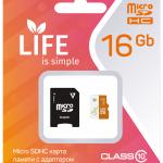 Карта памяти LIFE 16GB MicroSDHC class 10 (с адаптером SD)