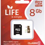 Карта памяти LIFE 8GB MicroSDHC class 10 (с адаптером SD)