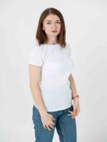 Купить женские однотонные футболки белые (плотность 150-155 гр/м2)