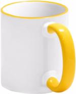 Кружка СТАНДАРТ цветная ручка и каемка желтая