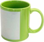 Кружка светло/зеленая прямоугольная белая зона под нанесение
