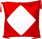 Наволочка красная с белым полем и кисточками 40х40 см атлас