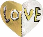 Наволочка волшебная сердце белая/золото 43x35 см сатин