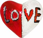 Наволочка волшебная сердце бело/красная 43x35 см сатин