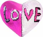 Наволочка волшебная сердце бело/розовая 43x35 см сатин
