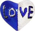 Наволочка волшебная сердце бело/синяя 43x35 см сатин