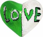 Наволочка волшебная сердце бело/зеленая 43x35 см сатин