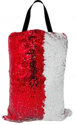 Сумка с пайетками белая/красная 40x32 см