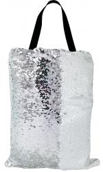 Сумка с пайетками белая/серебро 40x32 см