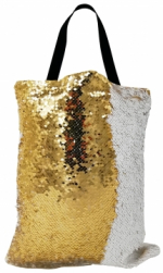 Сумка с пайетками белая/золото 40x32 см