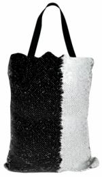 Сумка с пайетками черно/белая 40x32 см